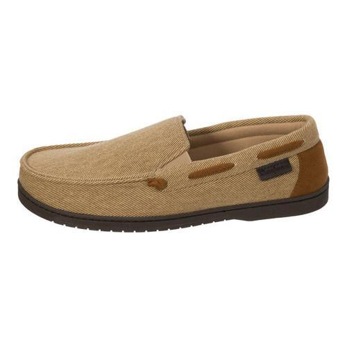 Men's Dearfoams Twill Moccasin Slipper Khaki - Thumbnail 1