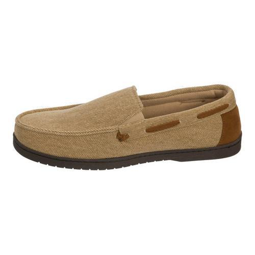 Men's Dearfoams Twill Moccasin Slipper Khaki - Thumbnail 2