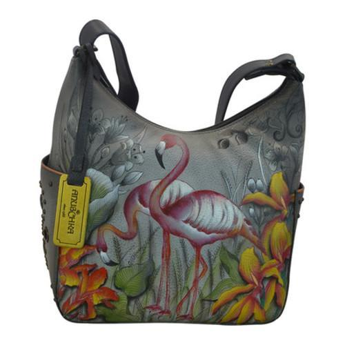 Women's Anuschka Classic Hobo With Studded Side Pockets Flamboyant Flamingos