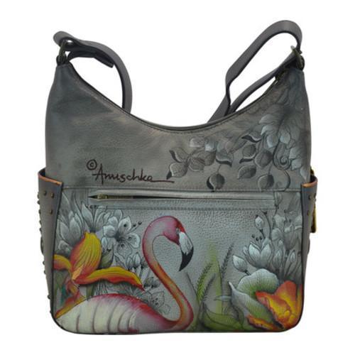 Women's Anuschka Classic Hobo With Studded Side Pockets Flamboyant Flamingos - Thumbnail 1
