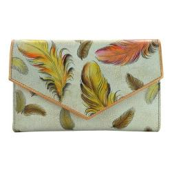 Women's Anuschka Checkbook Wallet Floating Feathers Ivory
