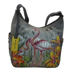 Women's Anuschka Classic Hobo With Studded Side Pockets Flamboyant Flamingos - Thumbnail 0