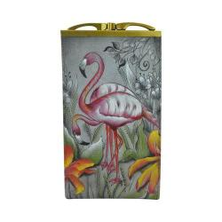 Women's Anuschka Double Eyeglass Case Flamboyant Flamingos