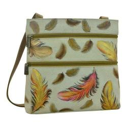 Women's Anuschka Double Zip Small Travel Crossbody Floating Feathers Ivory