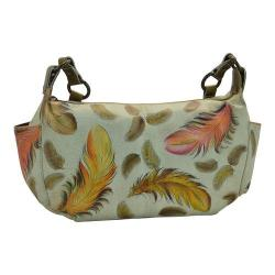 Women's Anuschka East West With Side Pockets Floating Feathers Ivory