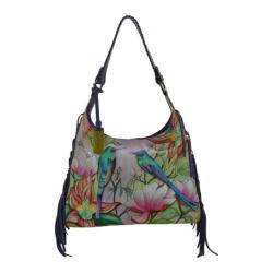 Women's Anuschka Hand Painted Leather Fringe Shoulder Hobo Bag Spring Passion