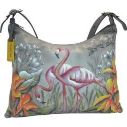 Women's Anuschka Hand Painted Slim Large Hobo Flamboyant Flamingos