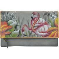 Women's Anuschka Hand Painted Three Fold Clutch Flamboyant Flamingos