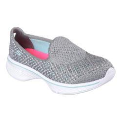Girls' Skechers GOwalk 4 Kindle Slip-On Walking Shoe Gray/Turquoise
