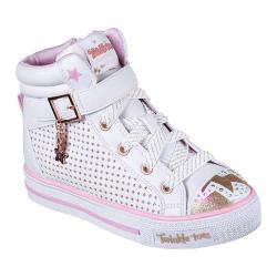 Girls' Skechers Twinkle Toes Shuffles Pop Dazzle High Top White/Pink