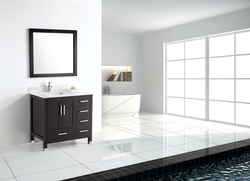 shop 36 inch belvedere modern freestanding espresso bathroom vanity with quartz top free. Black Bedroom Furniture Sets. Home Design Ideas