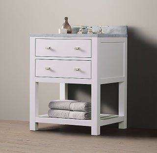 26-inch Belvedere Modern Freestanding White Bathroom Vanity with Marble Top
