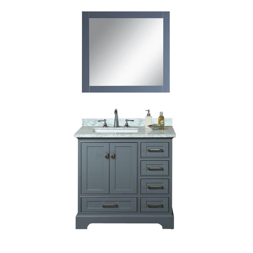 36 Inch Belvedere Traditional Freestanding Gray Bathroom Vanity With Marble  Top