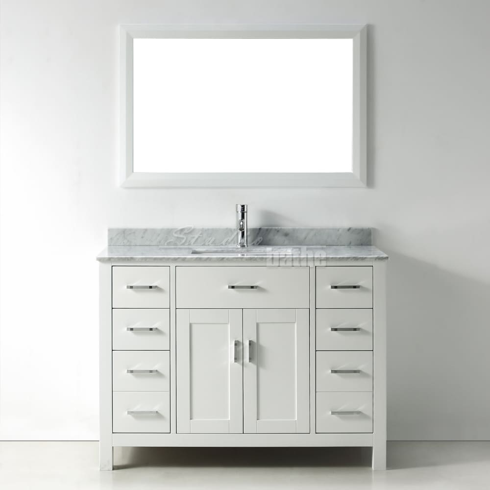 Bathroom sink cabinets white - 48 Inch Belvedere Modern Freestanding White Bathroom Vanity With Marble Top