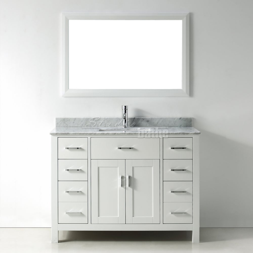Bathroom single vanity - 48 Inch Belvedere Modern Freestanding White Bathroom Vanity With Marble Top