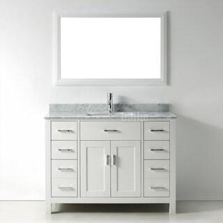 48-inch Belvedere Modern Freestanding White Bathroom Vanity with Marble Top