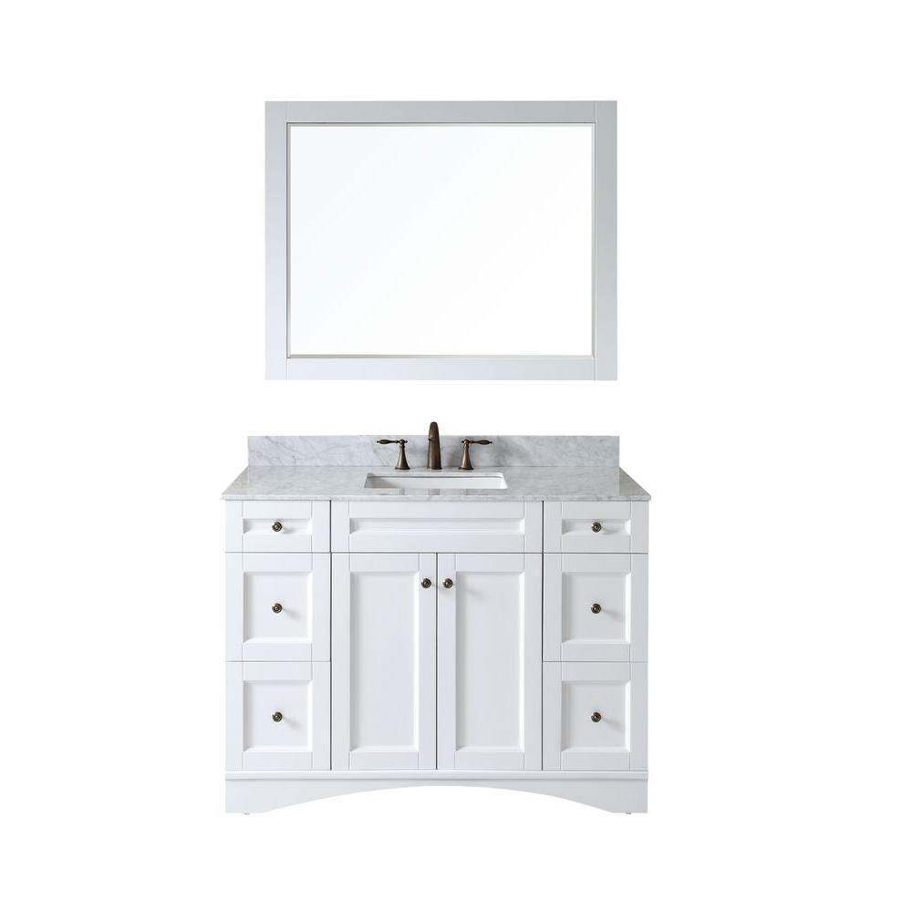 Wyndenhall salem 36 inch white quartz marble top single sink bathroom - 48 Inch Belvedere Traditional Freestanding White Bathroom Va