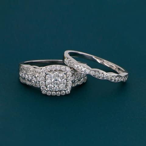 De Couer 10k Gold 1ct TDW Diamond Cluster Halo Bridal Set