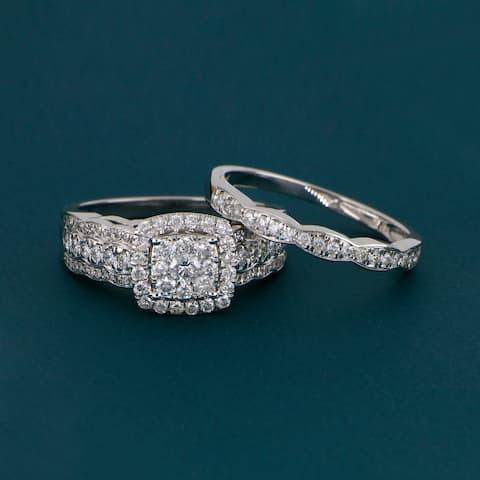 De Couer 10k Gold 1ct TDW Diamond Cluster Halo Bridal Set - White