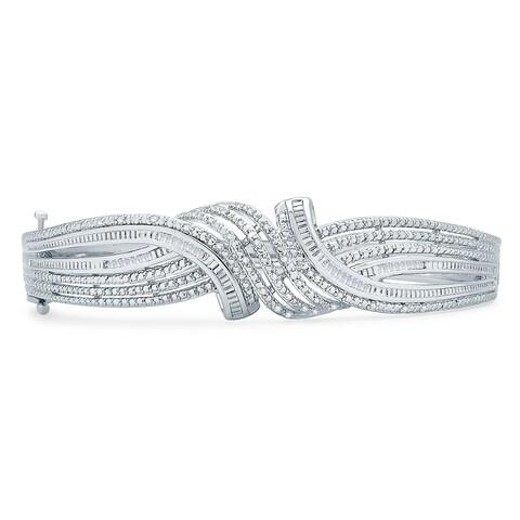 Divina 1/2ct TDW Silver overlay Fashion Bangle(I-J,I3) - n/a
