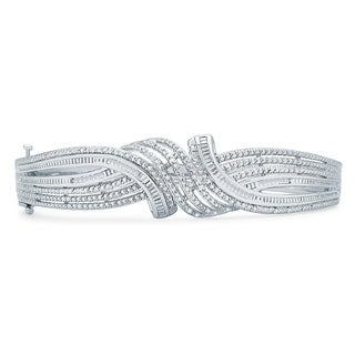 Divina 1/2ct TDW Silver overlay Fashion Bangle(I-J,I3) - n/a
