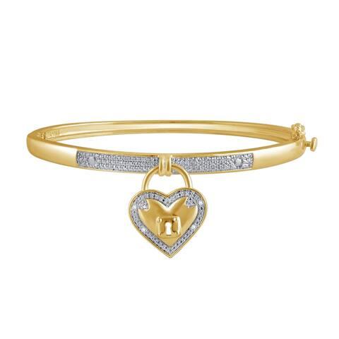 Divina Diamond Accent 14K Yellow Gold overlay Heart Bangle(I-J,I3)