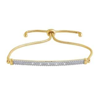 Divina 14K Yellow Gold Overlay Diamond Accent Bolo Bracelet(I-J,I3)|https://ak1.ostkcdn.com/images/products/17518413/P23743658.jpg?impolicy=medium