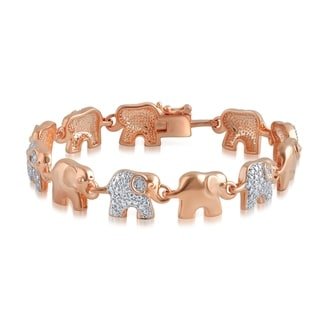 Divina Rose Gold Overlay Diamond Accent Elephant Bracelet(I-J,I3)