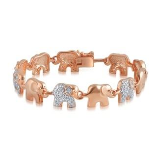 Divina Rose Gold Overlay Diamond Accent Elephant Bracelet(I-J,I3)