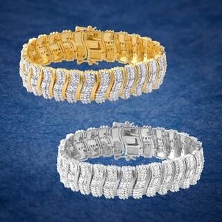 Divina 14KT Gold and Silver Overlay 2.0ct TDW Fashion Bracelet(I-J,I3) - n/a