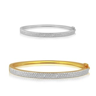 Divina Diamond Accent Silver and 14K Gold overlay Bar Bangle(I-J,I3)