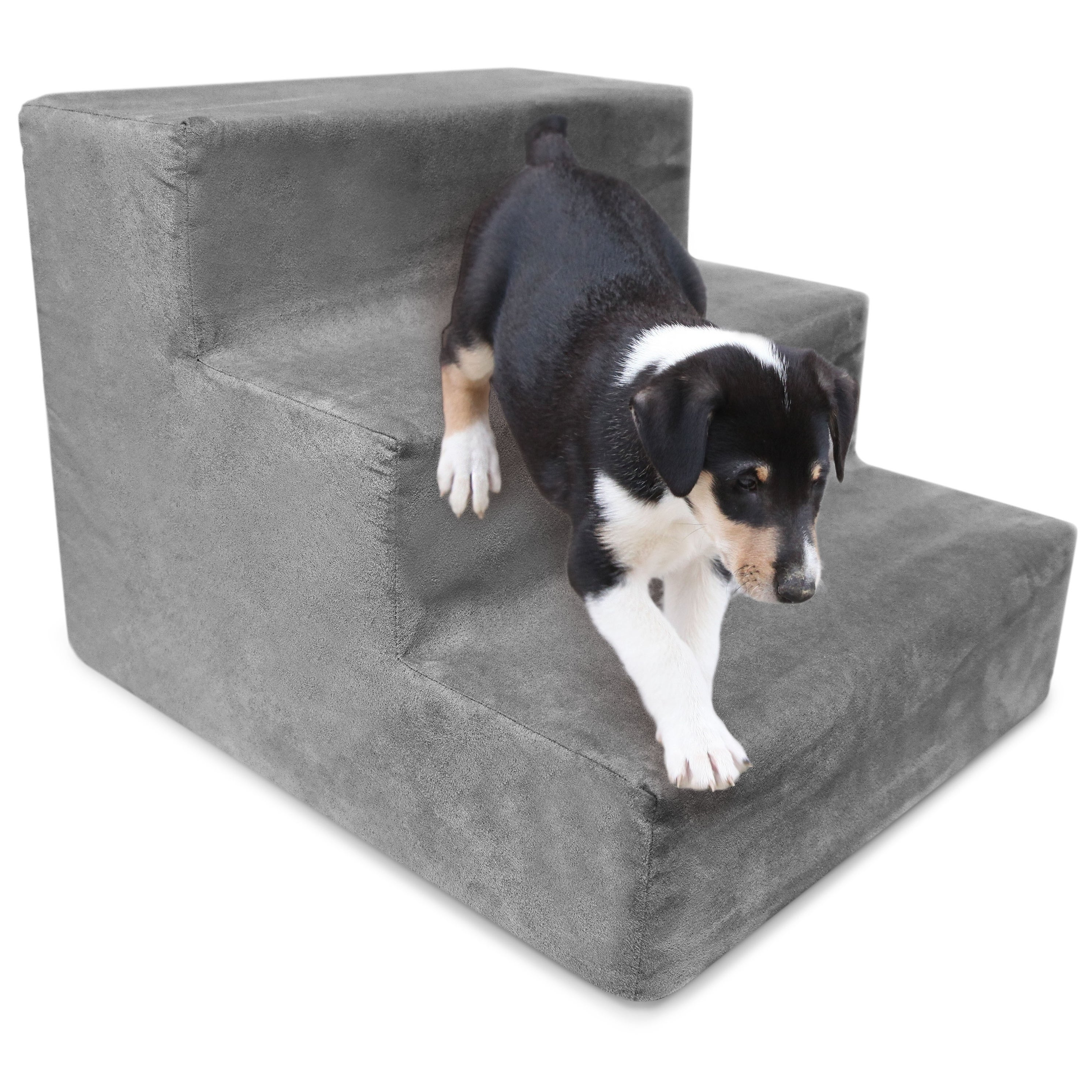 3 Step Portable Pet Stairs By Home Base (Grey)