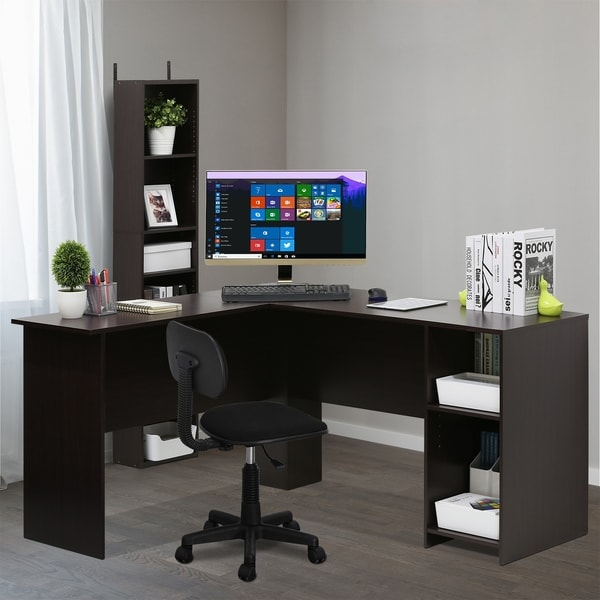 Furinno Indo L Shaped Desk With Bookshelves Espresso