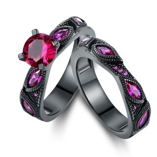 Black Rhodium Pink Sapphire Quartz Engagement Ring Set