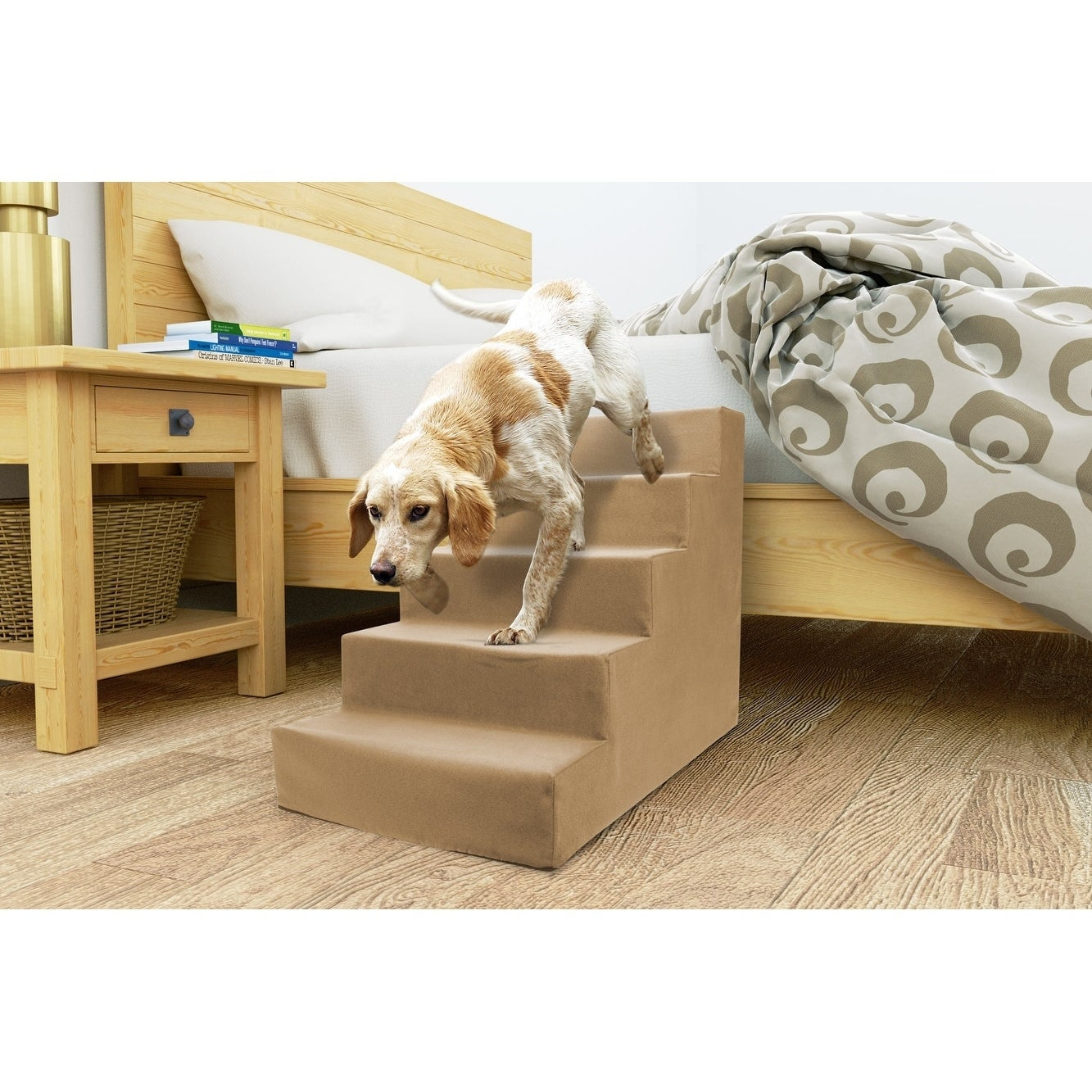 5 Step Portable Pet Stairs By Home Base (Tan)