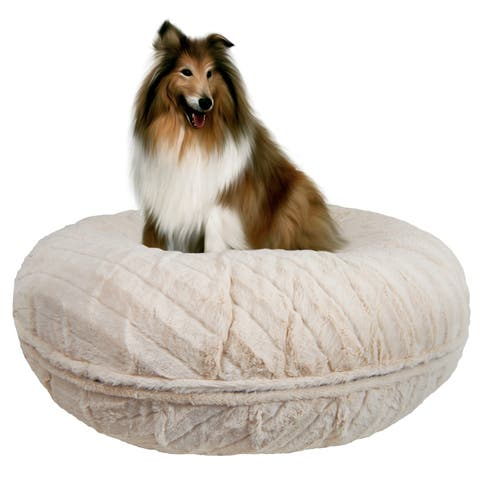 Bessie and Barnie Signature Natural Beauty Luxury Extra Plush Faux Fur Bagel Pet / Dog Bed