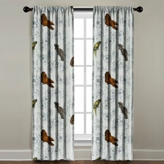The Pillow Collection Birds on Floral Multicolored Cotton Blend Window Panel