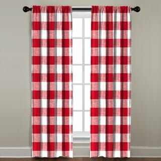 The Pillow Collection Red Plaid Cotton Window Panel