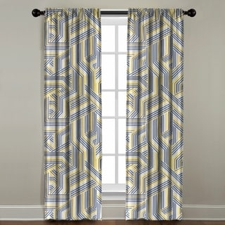 The Pillow Collection Multicolor Cotton Geometric Striped Window Panel