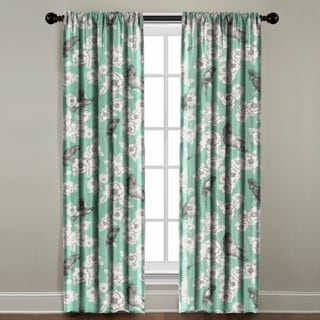 The Pillow Collection 'Birds in the Mint' Green Cotton Window Panel