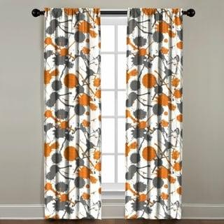The Pillow Collection Paint Splatter Orange Cotton Blend Window Panel
