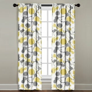 The Pillow Collection Yellow/Grey Cotton-blend Paint Splatter Window Panel
