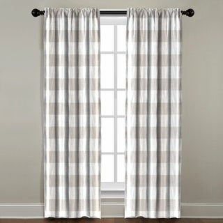 Beige Plaid Window Panel