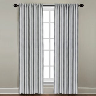 White and Navy Stripe Window Panel