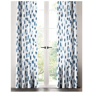 The Pillow Collection Down in the Blues Blue and White Cotton Window Panel