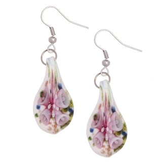 Bleek2Sheek Handmade Jewelry Italian Murano Inspired Glass Pink flower Confetti teardrop Fashion Earrings