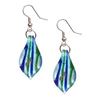 Bleek2Sheek Handmade Jewelry Italian Murano Inspired Glass Striped teardrop Fashion Earrings