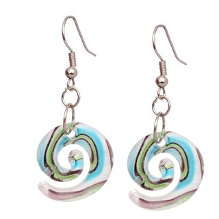 Bleek2Sheek Handmade Jewelry Italian Murano Inspired Glass Pastel Lollipop Fashion Earrings