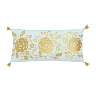 "Dena Home Marielle 12""W x 24""L Teal Floral Decorative Pillow"