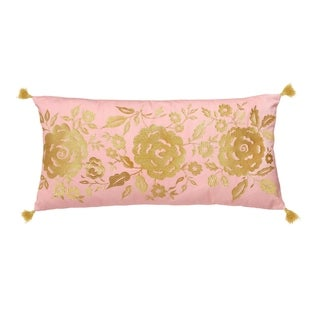 """Dena Home Marielle 12""""W x 24""""L Coral Floral Decorative Pillow"""